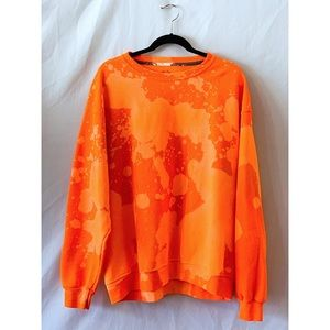 Sweaters - Upcycled orange bleach dyed crew sweatshirt